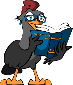 A chicken with an encyclopedia